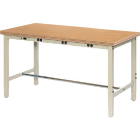 "96""W x 36""D Production Workbench with Power Apron - Shop Top Square Edge - Tan"
