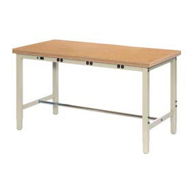 """60""""W x 30""""D Production Workbench with Power Apron - Shop Top Safety Edge - Tan"""