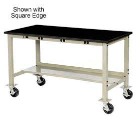 "72""W x 30""D Mobile Production Workbench with Power Apron - Phenolic Resin Safety Edge - Tan"