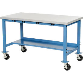 """72""""W x 36""""D Mobile Production Workbench with Power Apron - ESD Square Edge - Blue"""