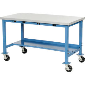 """72""""W x 36""""D Mobile Production Workbench with Power Apron - Plastic Laminate Safety Edge - Blue"""