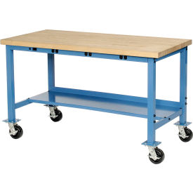"""72""""W x 36""""D Mobile Production Workbench with Power Apron - Maple Butcher Block Safety Edge - Blue"""
