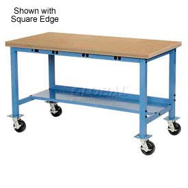 """60""""W x 30""""D Mobile Production Workbench with Power Apron - Shop Top Safety Edge - Blue"""