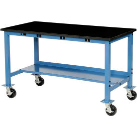 """72""""W x 36""""D Mobile Production Workbench with Power Apron - Phenolic Resin Safety Edge - Blue"""