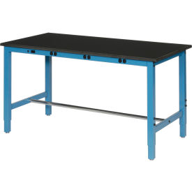"""72""""W x 36""""D Lab Bench with Power Apron - Phenolic Resin Safety Edge - Blue"""