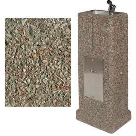 Outdoor Drinking Fountain - Concrete Upright, Gray Limestone