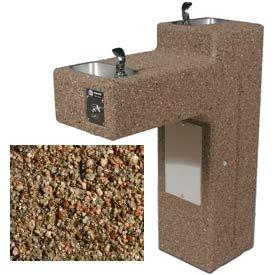 Concrete Dual Outdoor Drinking Fountain ADA Accessible - Tan River Rock