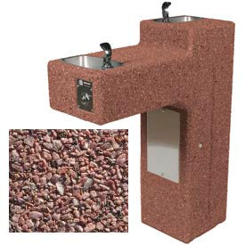 Outdoor Drinking Fountain - Concrete, Bi-Level,  ADA Accessible - Red Quartzite
