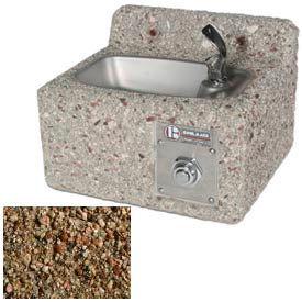 Outdoor Drinking Fountain - Concrete, Wall-Mount, Tan River Rock