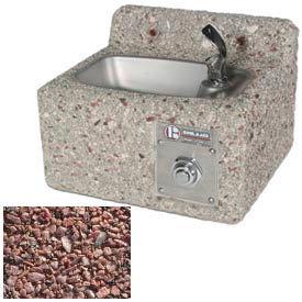 Concrete Wall-Mount Drinking Fountain - Red Quartzite