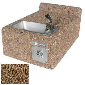 Concrete Wall-Mount Outdoor Drinking Fountain ADA Accessible - Tan River Rock