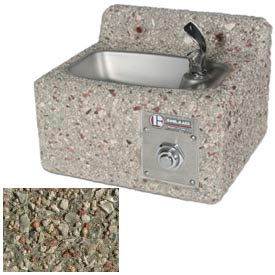 Concrete Freeze Resistant Wall-Mount Outdoor Drinking Fountain - Gray Limestone