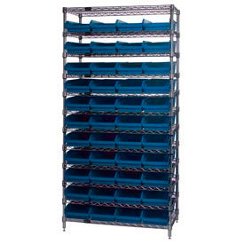 "Chrome Wire Shelving with 44 4""H Plastic Shelf Bins Blue, 36x14x74"