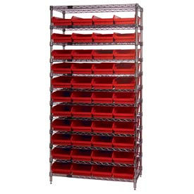 "Chrome Wire Shelving with 44 4""H Plastic Shelf Bins Red, 36x14x74"