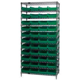 "Chrome Wire Shelving with 44 4""H Plastic Shelf Bins Green, 36x14x74"