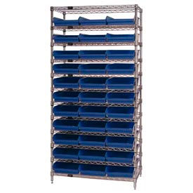 "Chrome Wire Shelving with 33 4""H Plastic Shelf Bins Blue, 36x14x74"