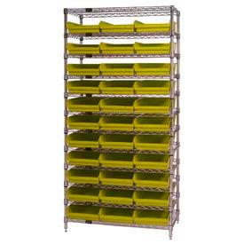 "Chrome Wire Shelving with 33 4""H Plastic Shelf Bins Yellow, 36x14x74"