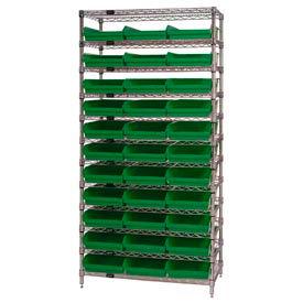 "Chrome Wire Shelving with 33 4""H Plastic Shelf Bins Green, 36x14x74"