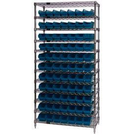 "Chrome Wire Shelving with 77 4""H Plastic Shelf Bins Blue, 36x18x74"