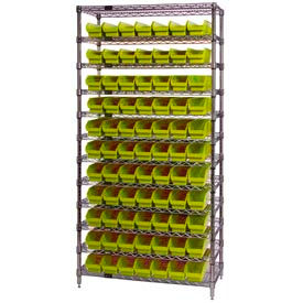 "Chrome Wire Shelving with 77 4""H Plastic Shelf Bins Yellow, 36x18x74"