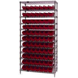 "Chrome Wire Shelving with 77 4""H Plastic Shelf Bins Red, 36x18x74"