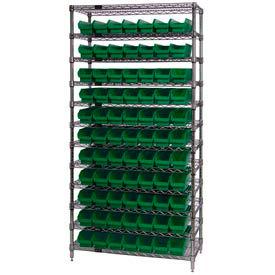 "Chrome Wire Shelving with 77 4""H Plastic Shelf Bins Green, 36x18x74"