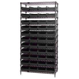 "Quantum WR12-108 Chrome Wire Shelving With 44 4""H Shelf Bins Black, 18x36x74"