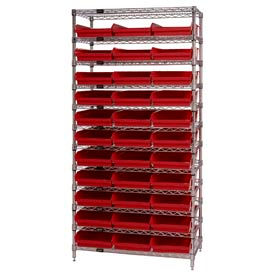 "Chrome Wire Shelving with 33 4""H Plastic Shelf Bins Red, 36x18x74"