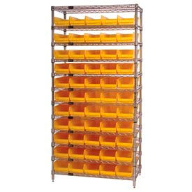 "Chrome Wire Shelving with 55 4""H Plastic Shelf Bins Yellow, 36x24x74"