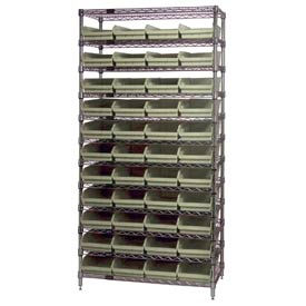 "Chrome Wire Shelving with 44 4""H Plastic Shelf Bins Stone, 36x24x74"