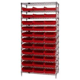 "Chrome Wire Shelving with 33 4""H Plastic Shelf Bins Red, 36x24x74"