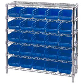 "Chrome Wire Shelving with 25 4""H Plastic Shelf Bins Blue, 36x14x36"