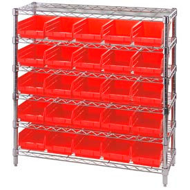 "Chrome Wire Shelving with 25 4""H Plastic Shelf Bins Red, 36x14x36"