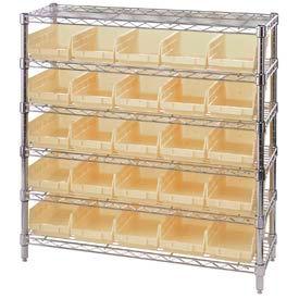 "Chrome Wire Shelving with 25 4""H Plastic Shelf Bins Stone, 36x14x36"