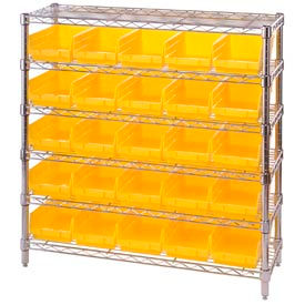 "Chrome Wire Shelving with 25 4""H Plastic Shelf Bins Yellow, 36x14x36"