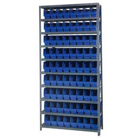 "Quantum 1275-201 Steel Shelving With 72 6""H Shelf Bins Blue, 36x12x75-10 Shelves"