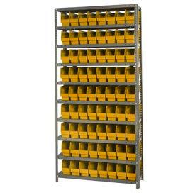 """Quantum 1275-201 Steel Shelving With 72 6""""H Shelf Bins Yellow, 36x12x75-10 Shelves"""