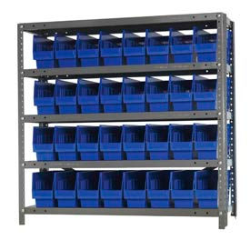 "Quantum 1239-201 Steel Shelving With 32 6""H Shelf Bins Blue, 36x12x39-5 Shelves"