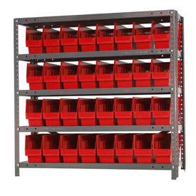 "Quantum 1239-201 Steel Shelving With 32 6""H Shelf Bins Red, 36x12x39-5 Shelves"
