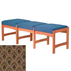 Three Person Bench - Medium Oak/Khaki Arch Pattern Fabric