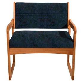 Bariatric Sled Base Chair - Medium Oak/Blue Water Pattern Fabric