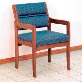 Guest Chair w/ Arms - Medium Oak/Blue Leaf Pattern Fabric