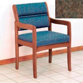 Guest Chair w/ Arms - Medium Oak/Earth Water Pattern Fabric