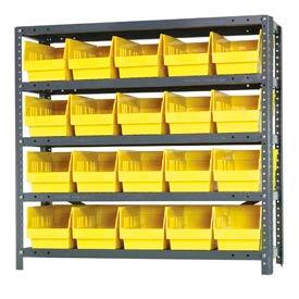 """Quantum 1239-202 Steel Shelving With 20 6""""H Shelf Bins Yellow, 36x12x39-5 Shelves"""