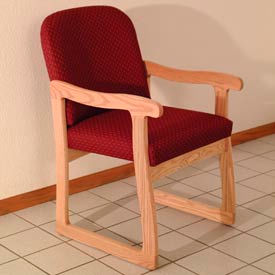Single Sled Base Chair w/ Arms - Light Oak/Burgundy Arch Pattern Fabric