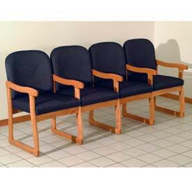 Quadruple Sled Base Chair w/ Arms - Medium Oak/Blue Arch Pattern Fabric