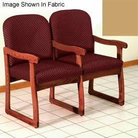 Double Sled Base Chair w/ Arms - Mahogany/Cream Vinyl