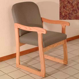 Single Sled Base Chair w/ Arms - Light Oak/Rose Water Pattern Fabric