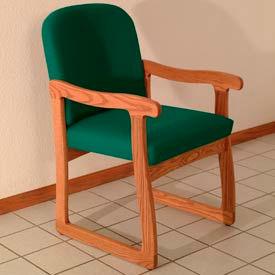 Single Sled Base Chair w/ Arms - Medium Oak/Green Vinyl