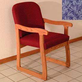 Single Sled Base Chair w/ Arms - Medium Oak/Blue Leaf Pattern Fabric